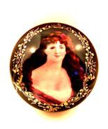 Fleur-de-Lys Large Powder Jewelry Box Gold Detail Portrait of Victorian ... - $137.60