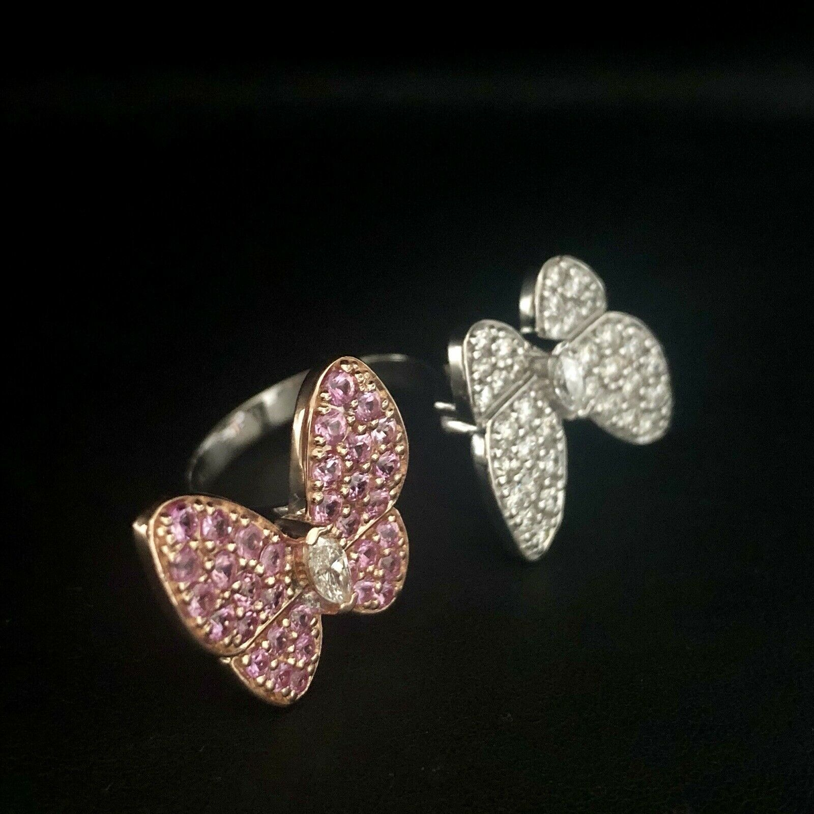 Two Butterfly between-the-finger ring VAN CLEEF PINK Sapphire & Diamond Ring 18K