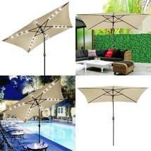 Patio Umbrella LED Solar String Lights 10x6.5ft Rectangle Outdoor Sunsha... - $106.16 CAD