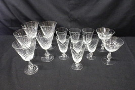 14 Pc Fostoria SWIRL Pattern #848 Cut Crystal Stemware Glasses w/Open St... - $99.99