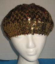 Vintage Bronze/Copper Gold Sequin Knit Beret Womens Fashion Hat - $18.81
