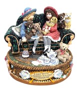 Two little girls sitting on a sofa San Francisco Music Box Co 1997 Figur... - $61.19