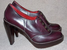Cole Haan Burgundy Boho Steampunk Pumps Leather 8B Used - $108.89