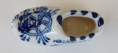 Delft miniature souvenir wooden shoe Holland pottery blue