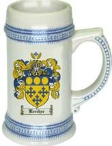 Kercher Coat of Arms Stein / Family Crest Tankard Mug - $21.99