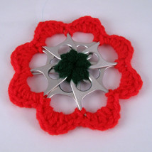 Red and Green Recycled Can Tab Christmas Flower Ornament - $6.00