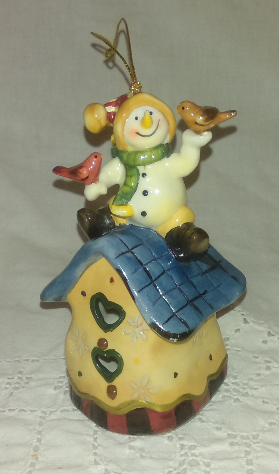 Primary image for CUTE Snowman on a house with Birds Ceramic Christmas Ornament