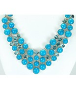 Natural Mexican Turquoise with Blue Topaz Sterling Silver Collar Necklac... - $391.00