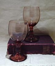 Vintage Pink Wine Glasses // Optic Ribbed Wine ... - $10.00