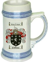 Clifftone Coat of Arms Stein / Family Crest Tankard Mug - $21.99