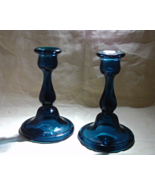 Vintage TEAL BLUE Tall Glass Candle Holders // Vintage Table Decor - $15.00