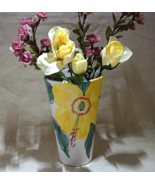 Vintage Hand Painted JOMAZE Floral Vase Made in Portugal // Large Flower... - $14.00