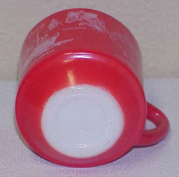 QUEEN MARY at Longbeach California - Vintage Milkglass Coffee Mug