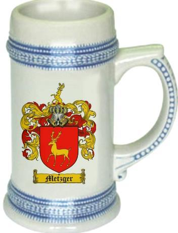 Metzger Coat of Arms Stein / Family Crest Tankard Mug