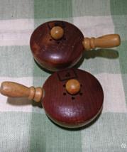 Vintage/Souvenier Wooden Pot Salt & Pepper Shakers From Mt. Vernon VA - $5.00