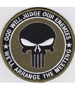 PUNISHER GOD WILL JUDGE OUR ENEMIES SEAL OD GREEN MILITARY PATCH - $10.99