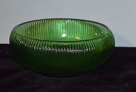 Vintage E.O.Brody Co.Green Ribbed Round Glass Bowl Cleveland OH. U.S.A. - $4.91