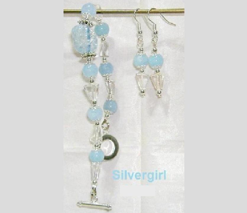 Blue Crackled Quartz Blue Jade Bracelet Earring Set