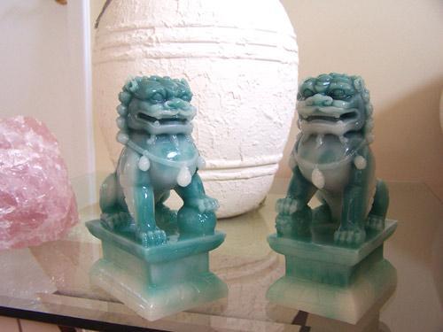 Jade Color Foo Dogs (Medium Size) Resin Statues
