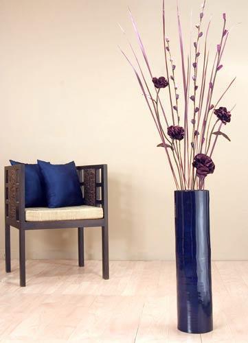 "27"" Blue Bamboo Cylinder Floor Vase Decorative Vases"