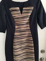 Connected Laser cut Panel Sheath midnight blue with beig insert Dress Size 8 NWT image 2