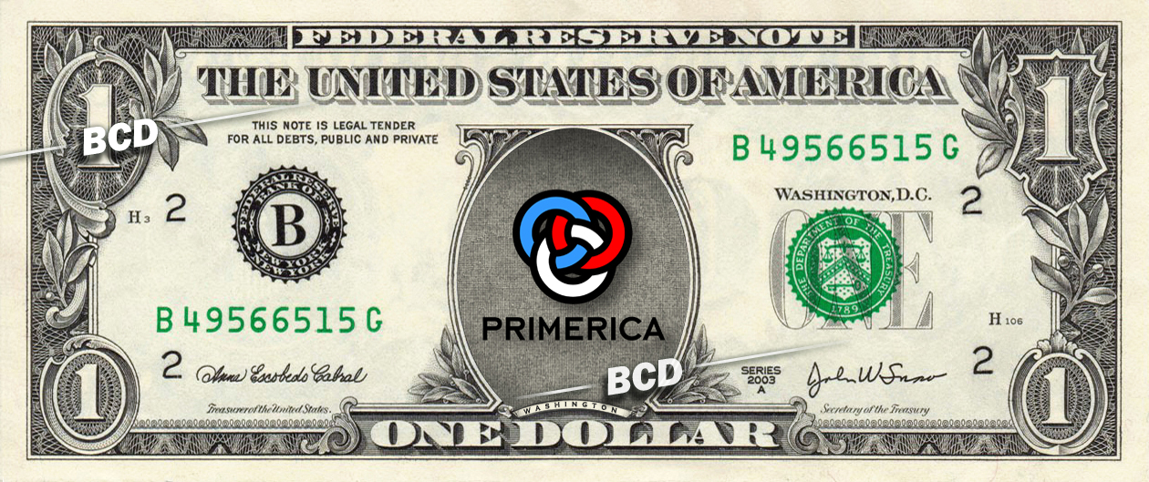 PRIMERICA Financial Services Company On Real Dollar Bill Cash Money Bank Note