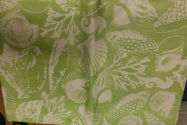 "Flannel Back Vinyl Tablecloth 52"" X 104"", Sea Life & Sea Shells On Green By Ap - $17.81"