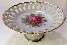 Napco pedestal dish hand painted with gold trim - $37.13