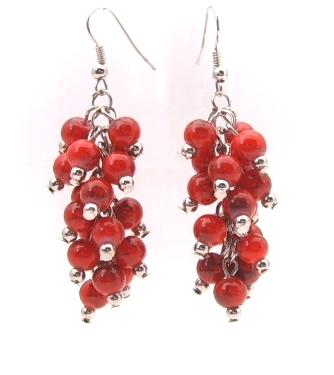 Earrings silver wires bunches round red beads