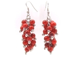 Earrings silver wires bunches round red beads thumb155 crop