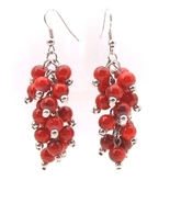 Earrings Silver Wires Bunches of Dangly Round Red Beads - $7.99