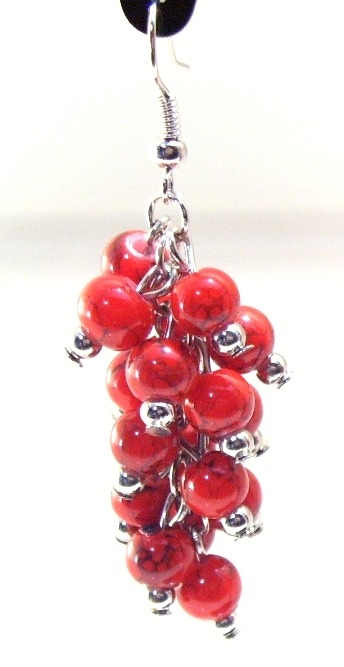 Earrings Silver Wires Bunches of Dangly Round Red Beads