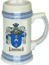 Andersson Coat of Arms Stein / Family Crest Tankard Mug - $21.99