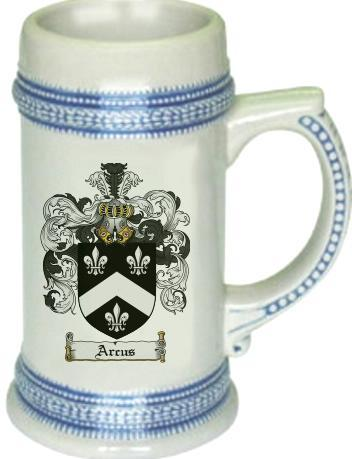 Arcus Coat of Arms Stein / Family Crest Tankard Mug