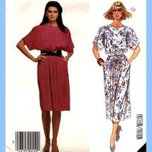 876 Womens Short Sleeve Pullover Dress, sz 12 Vintage 80's Pattern Uncut - $6.95