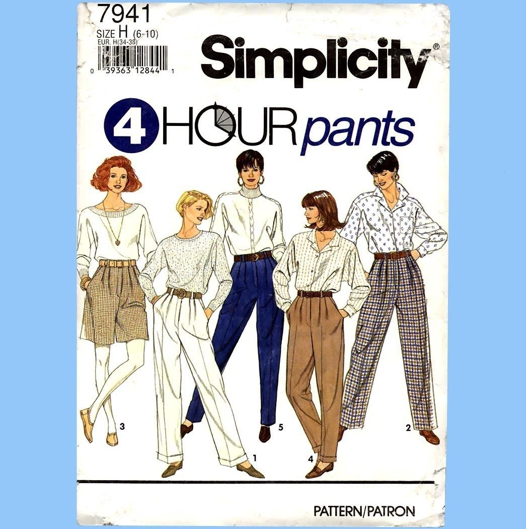 146 Womens Pants & Shorts size 6 8 10, 4 Hour Sewing Pattern, Uncut Simplicity