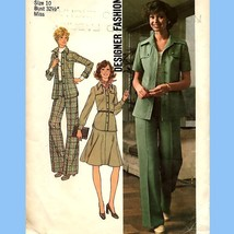 725 Vintage Shirt Jacket, Pants, Skirt Sz 10, 70'S Pantsuit, Designer Pattern - $5.95