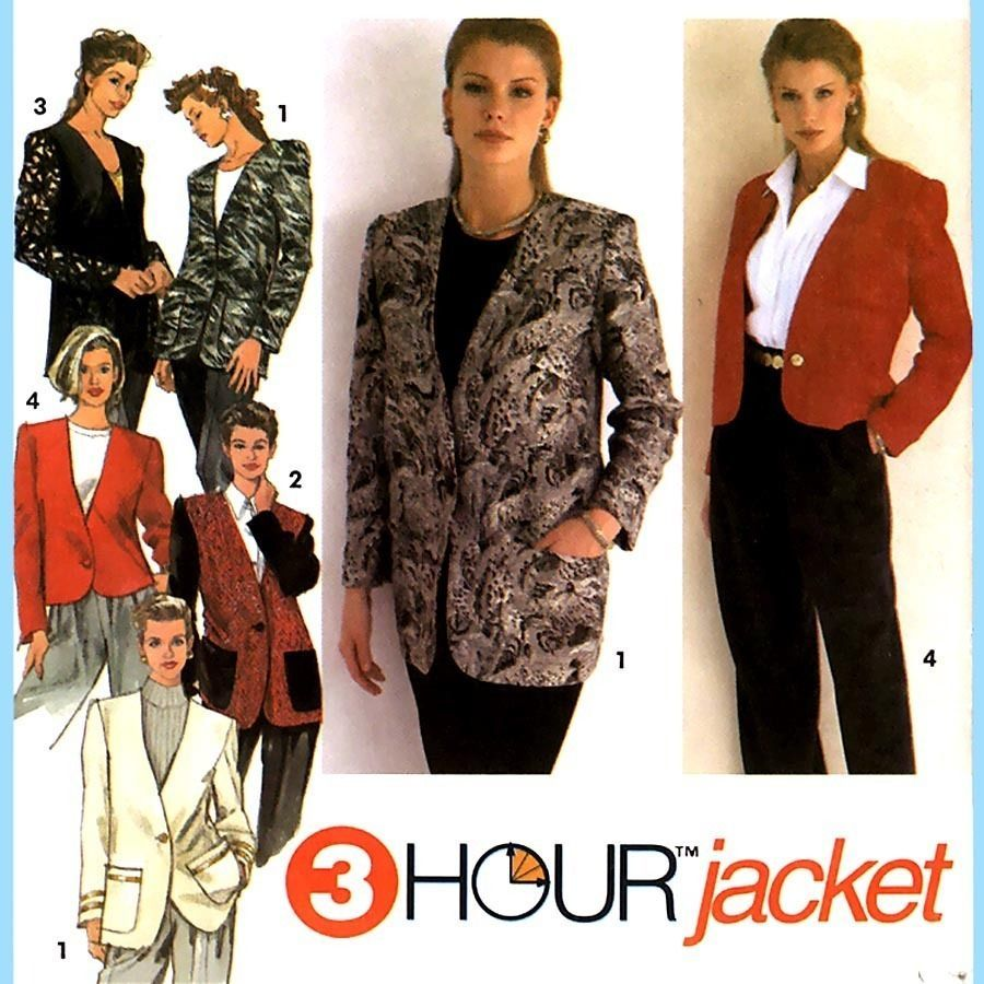 171 Womens 3 Hour Collarless Jacket sz 6 8 10 Vintage Sewing Pattern Uncut