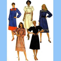 853 Womens Pullover Dress, Slightly Flared sz 12 Vintage 80's Sew Patter... - $4.95