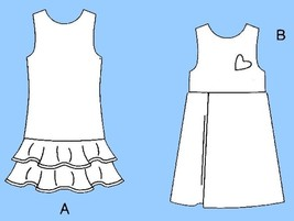 680-2 GIRLS DRESS, JUMPER, FLOUNCES, PLEATS, CHILDS sz 4 5 6, PATTERN UNCUT - $5.95