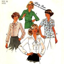 727 Womens Blouse Tops Shirts Sz 10, 32½ Bust, Vintage 70'S Sewing Pattern - $5.95