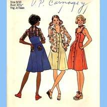597 Juniors, Teens Dress Jumper Shirt, 30½ Bust, Vintage 70's Pattern, Uncut - $7.95