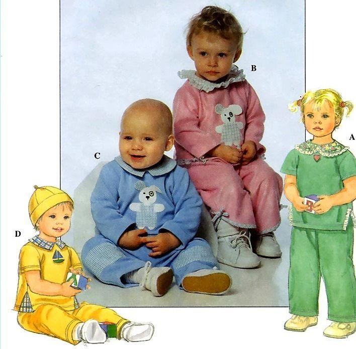 503 BABY BOY & GIRL TOP PANTS HAT NB S M L up to 24 lb SEWING PATTERN, UNCUT