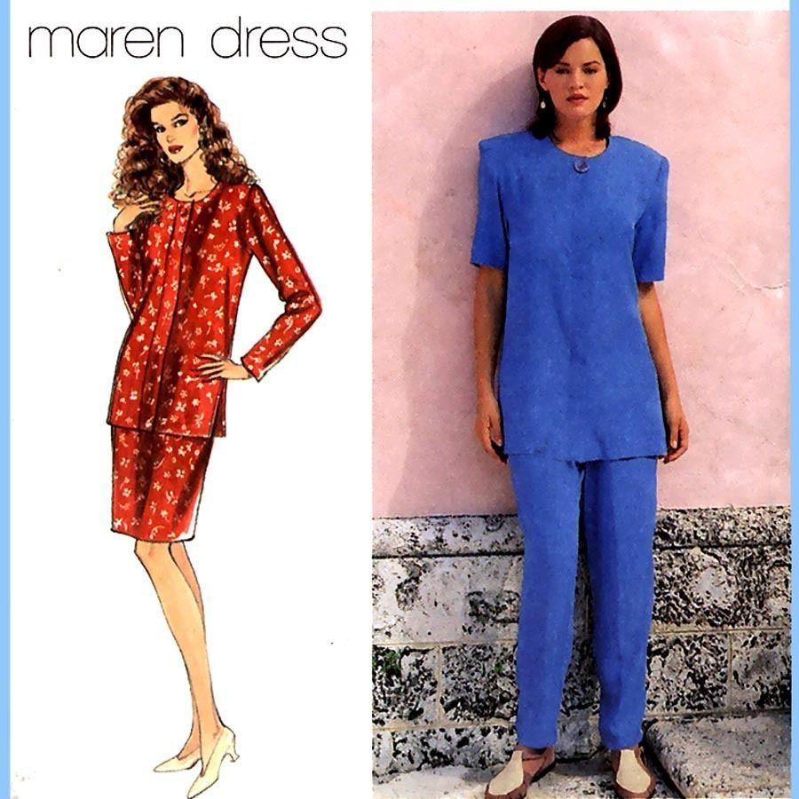 152 Womens Maren Dress Pattern, Top Skirt Pants sz 6 8 10 Sewing Pattern, Uncut
