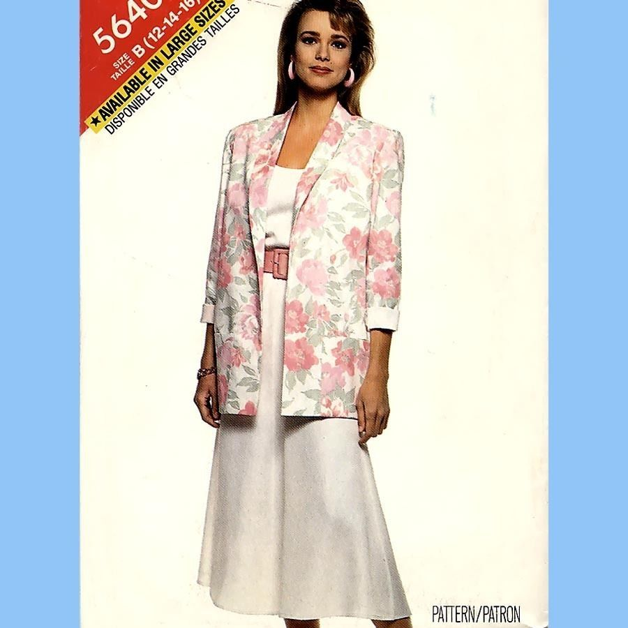 275 Womens Unlined Jacket Top Flared Skirt s 12 14 16 Easy Vintage Pattern Uncut - $5.95