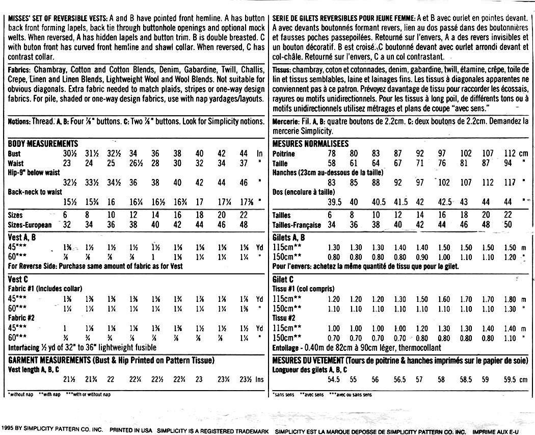 151 Kathie Lee Vest Patterns, 3 Reversible Styles sizes 6 8 10, Uncut