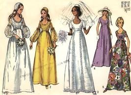 757 WEDDING DRESS OR BRIDESMAID DRESS & CAP, sz 12, 34 BUST, VINTAGE PAT... - $6.95