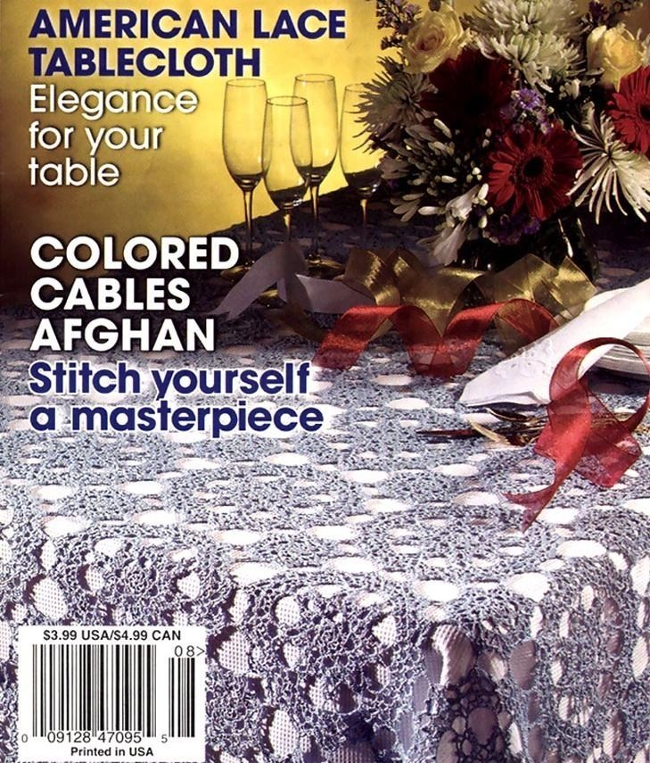 Hooked On Crochet, August 2003, American Lace Tablecloth, Coarl Reef Doily, Rugs - $3.75
