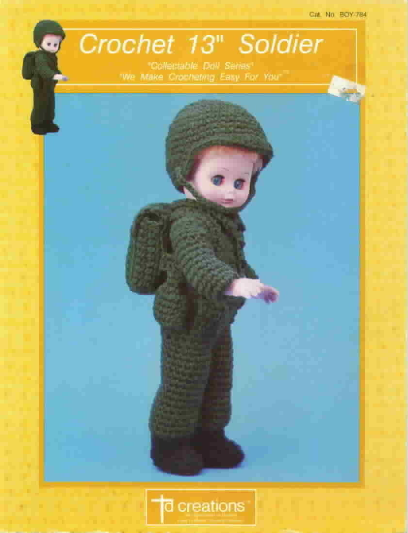 Td creations crochet 13 inch soldier