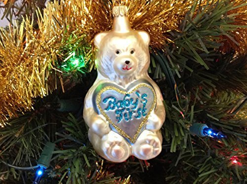 Blue and White Teddy Bear Baby's First Christmas Hand Painted Glass Ornament